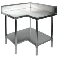 WBCB7-0900 - Stainless Steel Corner Workbench with Splashback & Shelf-0