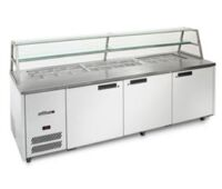 Williams Jade HJ3SCBASS 3 Door Prep Fridge with Glass Canopy-0