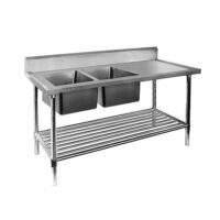 DSB7-2400 Double stainless steel sink bench-0