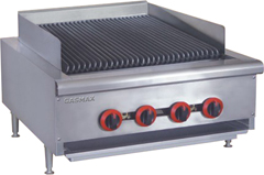 FED QR-24 4 burner commercial cooking range with char grill top-0